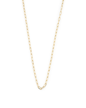 Made In South Africa 14k Gold Paperclip Chain Necklace