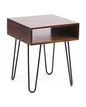 Hairpin Acacia Wood Side Table