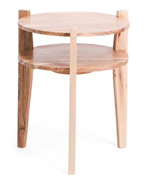 Round Acacia Wood Side Table With Shelf