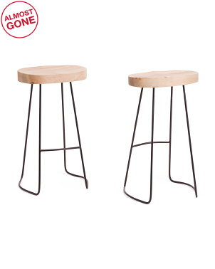 Set Of 2 Gavin Mango Wood Barstools