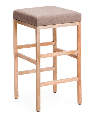 Mango Wood And Fabric Barstool