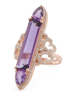 14k Rose Gold Diamond Amethyst Diamond Vintage Style Ring