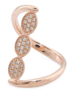 14k Rose Gold Diamond Pave Triple Oval Ring