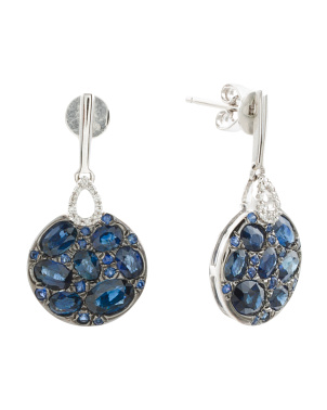 14k White Gold Sapphire And Diamond Pave Earrings