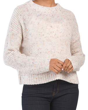 Juniors Chunky Crew Neck Pullover Sweater