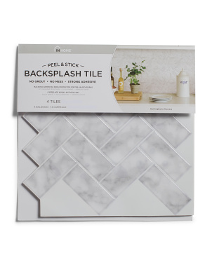 4pk Herringbone Carrara Peel & Stick Backsplash Tiles