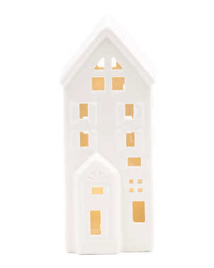 8in Ceramic Glossy Led Tall House