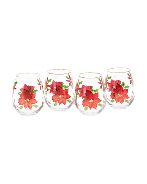 4pk Poinsettia Stemless Wine Glasses