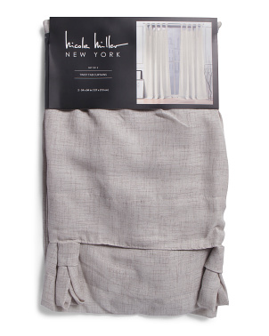 54x84 Set Of 2 Zana Fan Top Linen Look Curtains