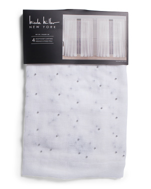 38x84 Set Of 4 Pearly Gates Embellished Sheer Curtains