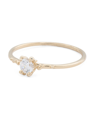 Made In Italy 14k Gold Cz Ring