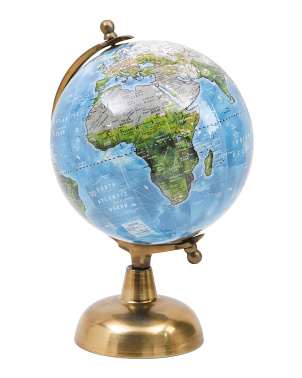 8in Globe On Antique Brass Base