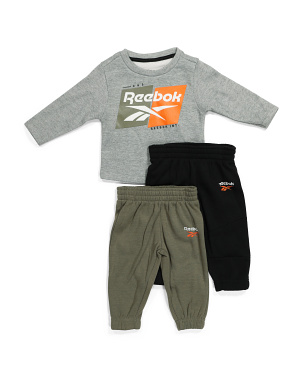 Infant Boy 3pc Fleece Crew Neck Top And Joggers Set