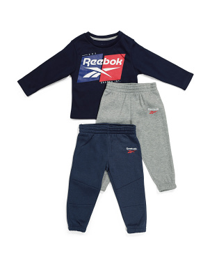 Toddler Boy 3pc Fleece Crew Neck Top And Joggers Set