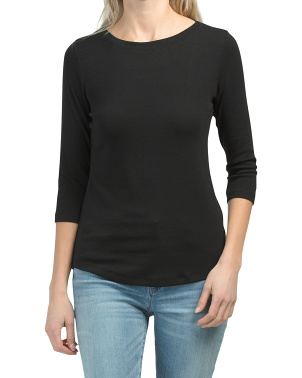 Pima Cotton Boat Neck Three-quarter Sleeve Top