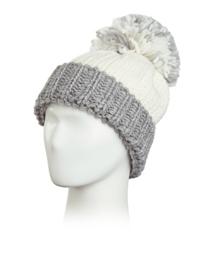 Made In Italy Big Knit Pom Two Tone Beanie