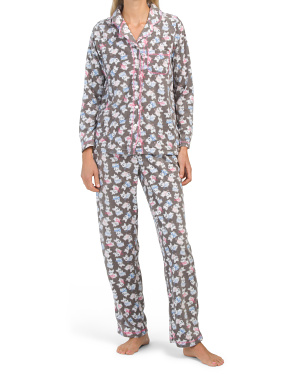 Packaged Micro Fleece Scottie Dot Notch Pj Set