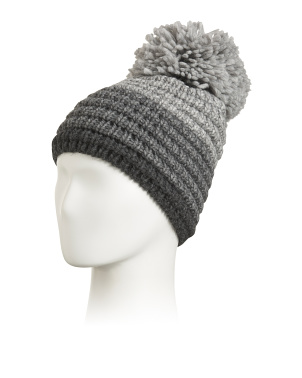 Made In Italy Ombre Rib Knit Pom Beanie
