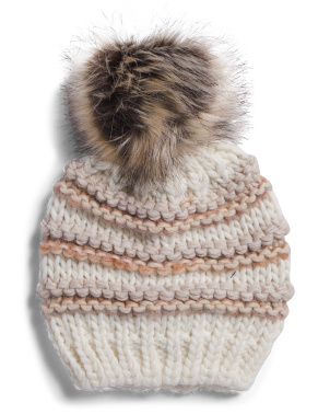 Made In Italy Ilink Stitch Pom Pom Beanie