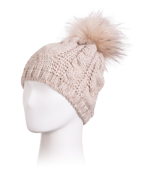 Made In Italy Mixed Cable Faux Fur Pom Beanie