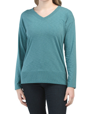 Slub V-neck Knit Top