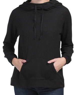 Juniors Cowl Neck Kangaroo Pocket Sweater