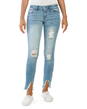 Juniors High Waist Skinny Destructed Jeans With Pearls