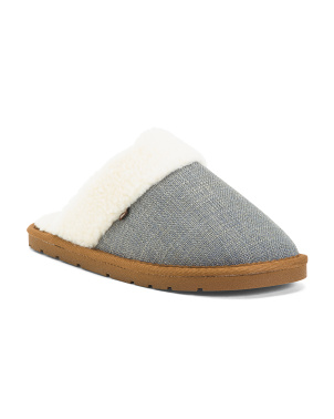 Breathable Scuff Slippers With Faux Fur Lining