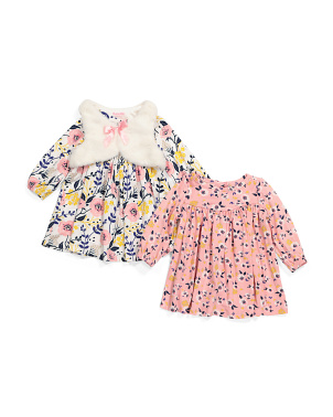 Infant Girls 3pc Dress Set With Vest