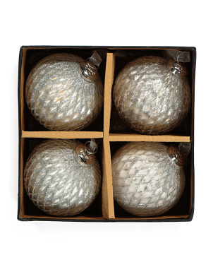 Set Of 4 Textured Ornaments With Glitter