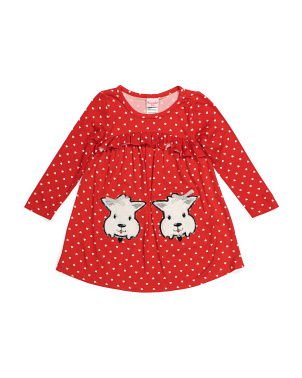 Toddler Girls Dog Applique Dress
