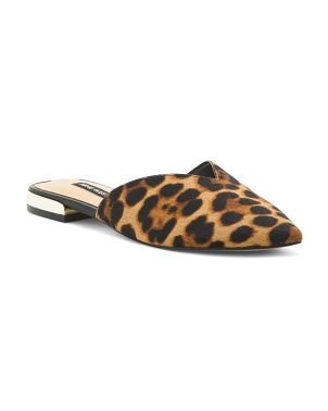 Leopard Haircalf Slip On Mules