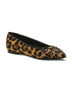 Leopard Printed Haircalf Flats
