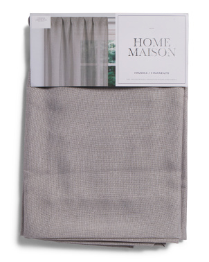 Set Of 2 Felix Linen Look Textured Metallic Curtains