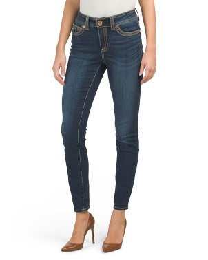 Mid Rise Thick Stitch Rocker Skinny Jeans
