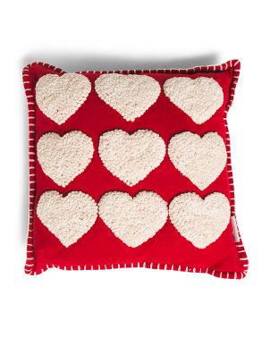 16x16 French Knot Heart Pillow