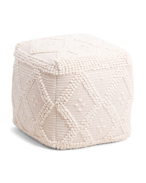 Made In India 16x16 Natural Textured Wool Blend Pouf
