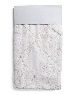 54x96 Set Of 2 Metallic Embroidery Linen Look Curtains