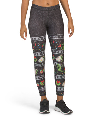 Made In Usa High Waist Grinch Christmas Ankle Leggings