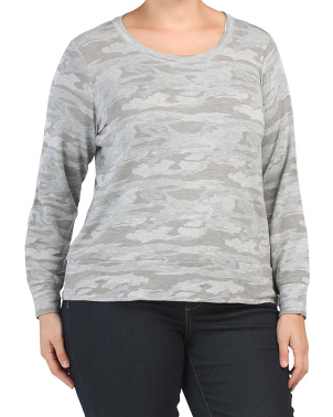 Plus Soft Camo Long Sleeve Top