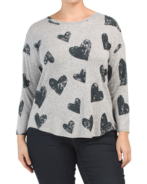 Plus Soft Long Sleeve Star Print Top