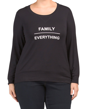 Plus Family Over Everything Knit Crew Neck Top