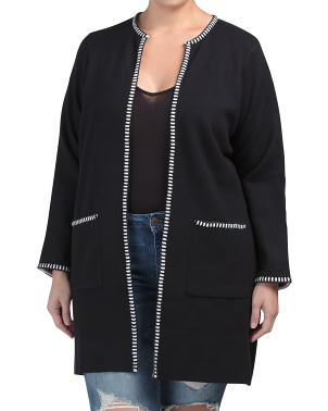 Plus Classic Long Cardigan With Trim Detail