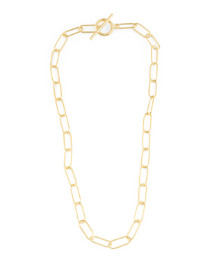 14k Gold Plated Sterling Silver Long Link Toggle Necklace