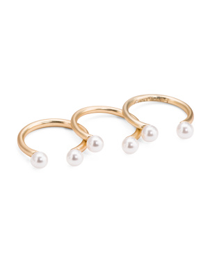 Adjustable Pearl Stacking Ring Set