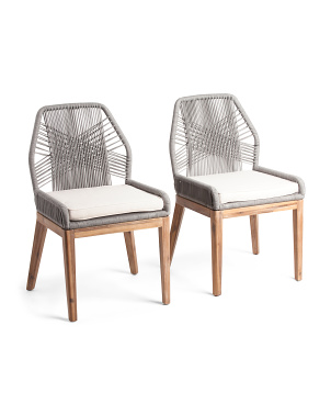 Set Of 2 Rope Crossweave Dining Chairs