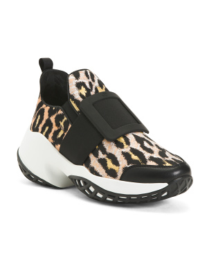Made In Italy Animal Print Sneakers With Buckle Detail