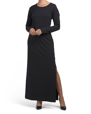 Thumbhole Cuff Vent Back Maxi Dress