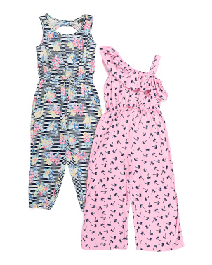 Big Girls 2pk Comfy Jumpsuits