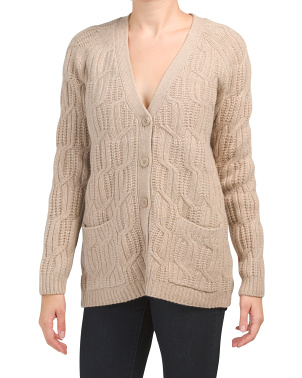 Cabled Wool Blend Cardigan With Pockets